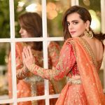 Sumbul Iqbal Shinning Pices in Red Lehenga 2020