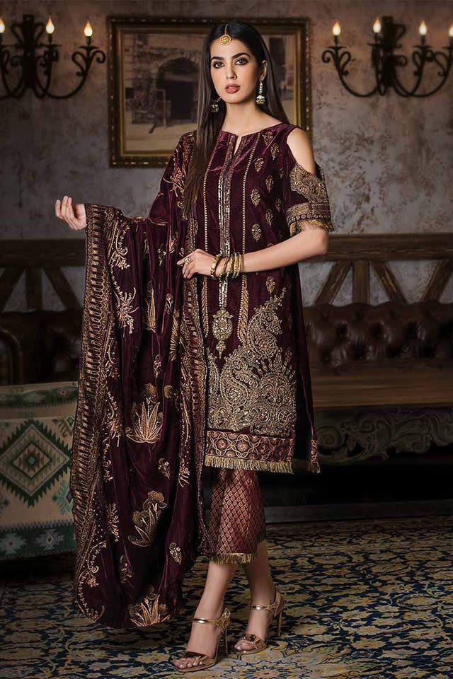 Gul Ahmed Winter Best Velvet Noor-e-Chasham Design 2019