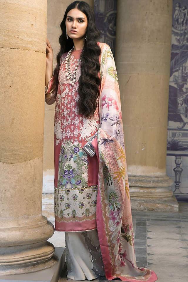 Sana Safinaz Winter Silk Prints Design Dresses 2019