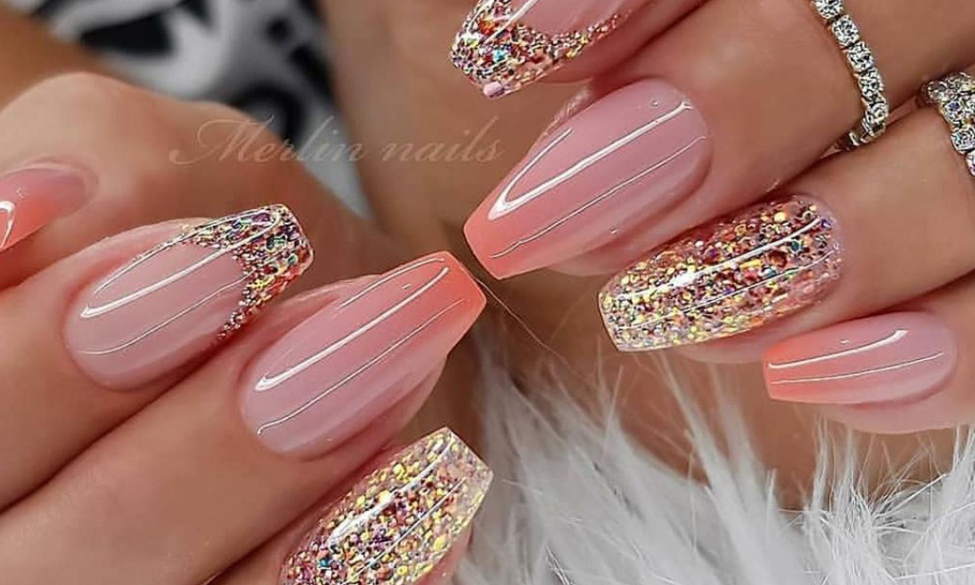 Beautifull Bridel Glitter Nails For Girls Design Looking 2020